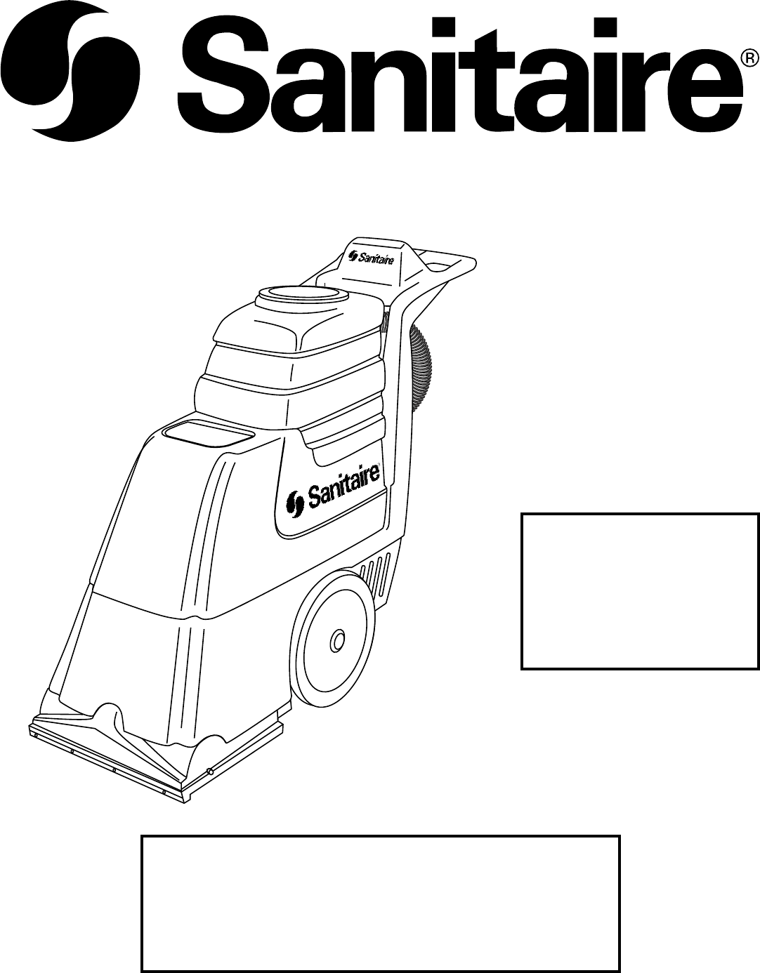 Sanitaire Carpet Cleaner SC6090 Series User Guide