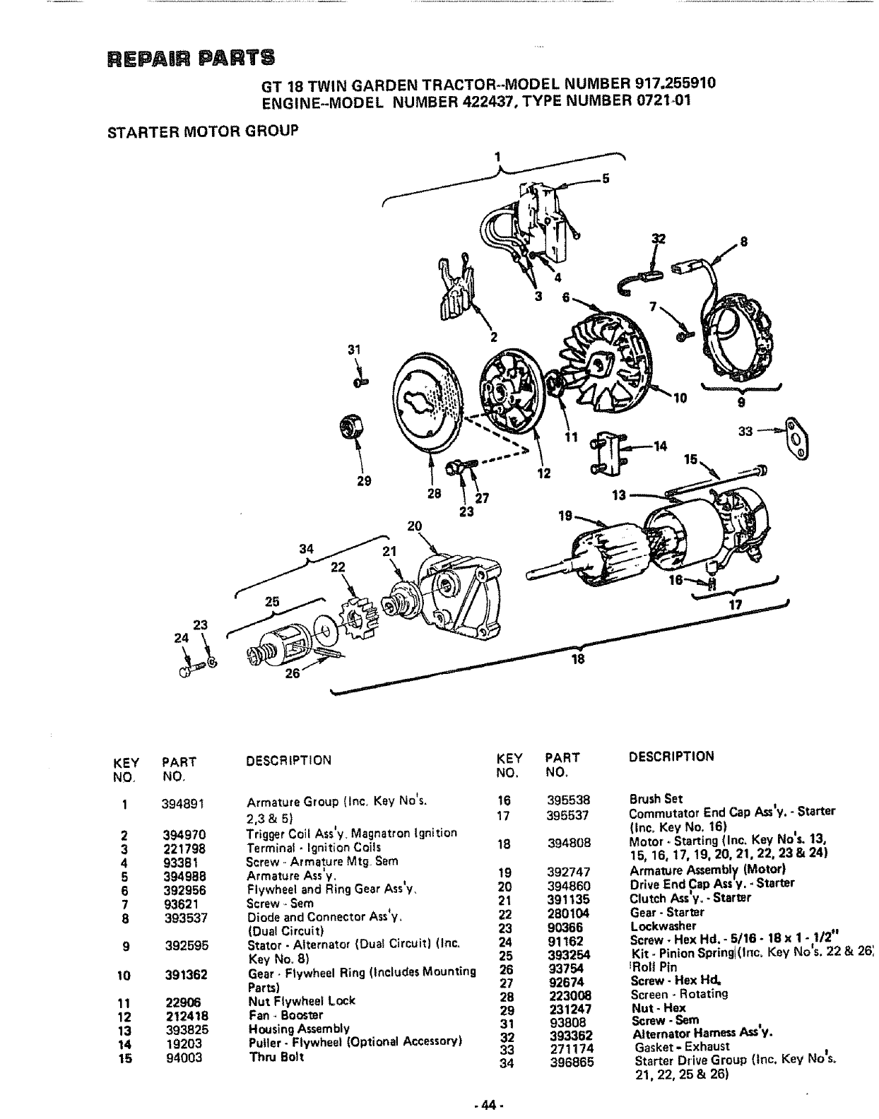 Page 44 of Sears Lawn Mower 917.25591 User Guide