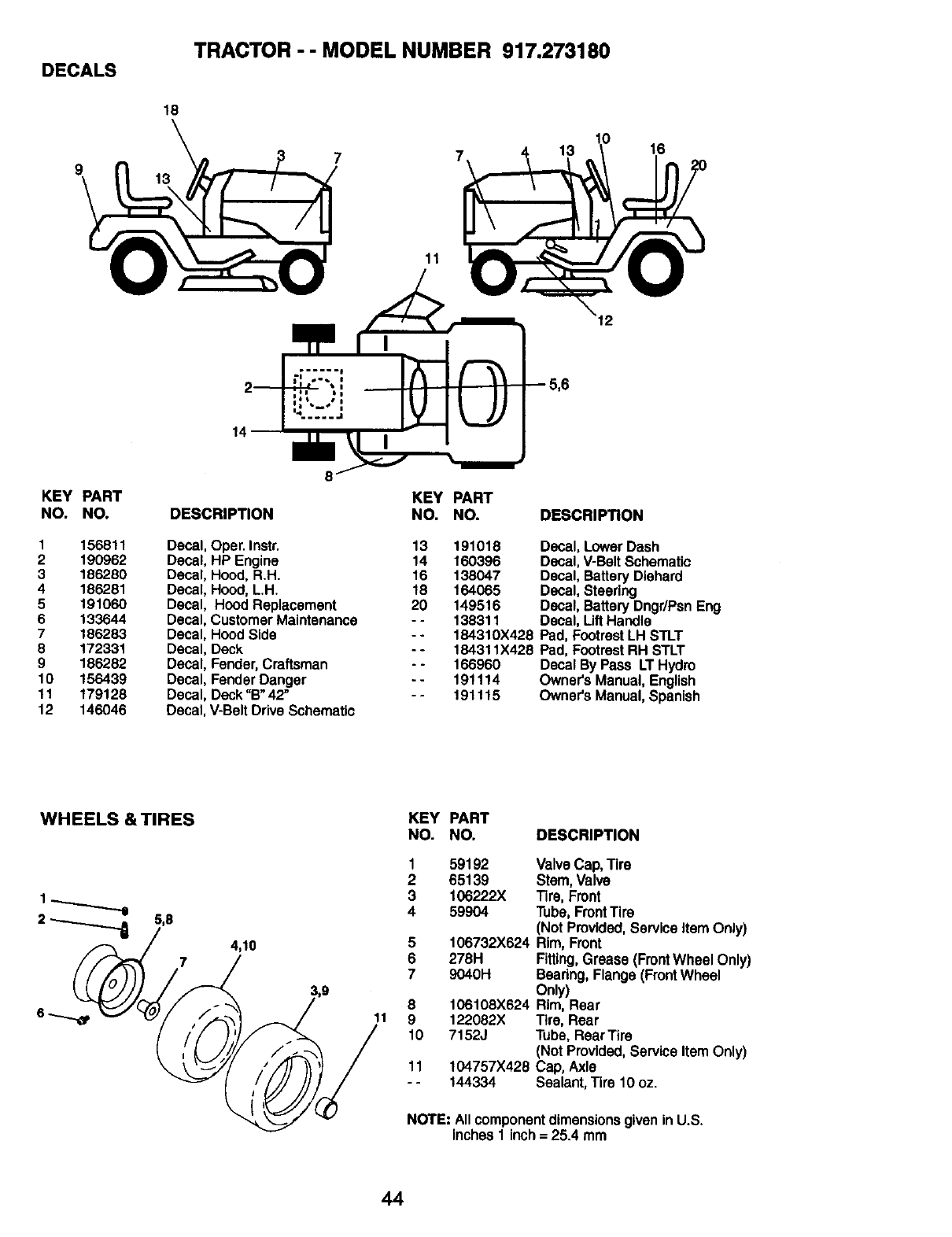 Page 44 of Craftsman Lawn Mower 917.273180 User Guide