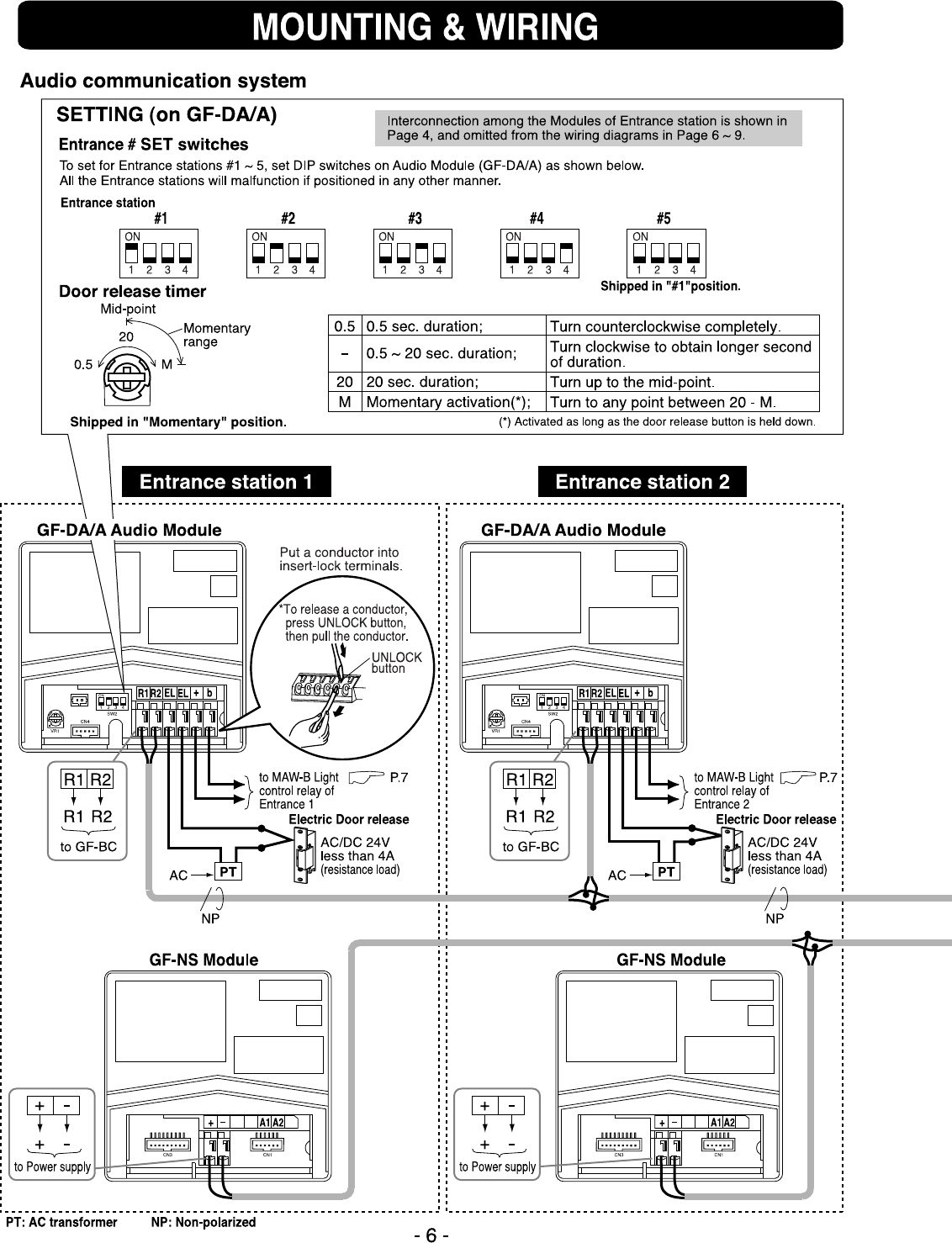 Page 6 of Aiphone Intercom System GF-1MD User Guide