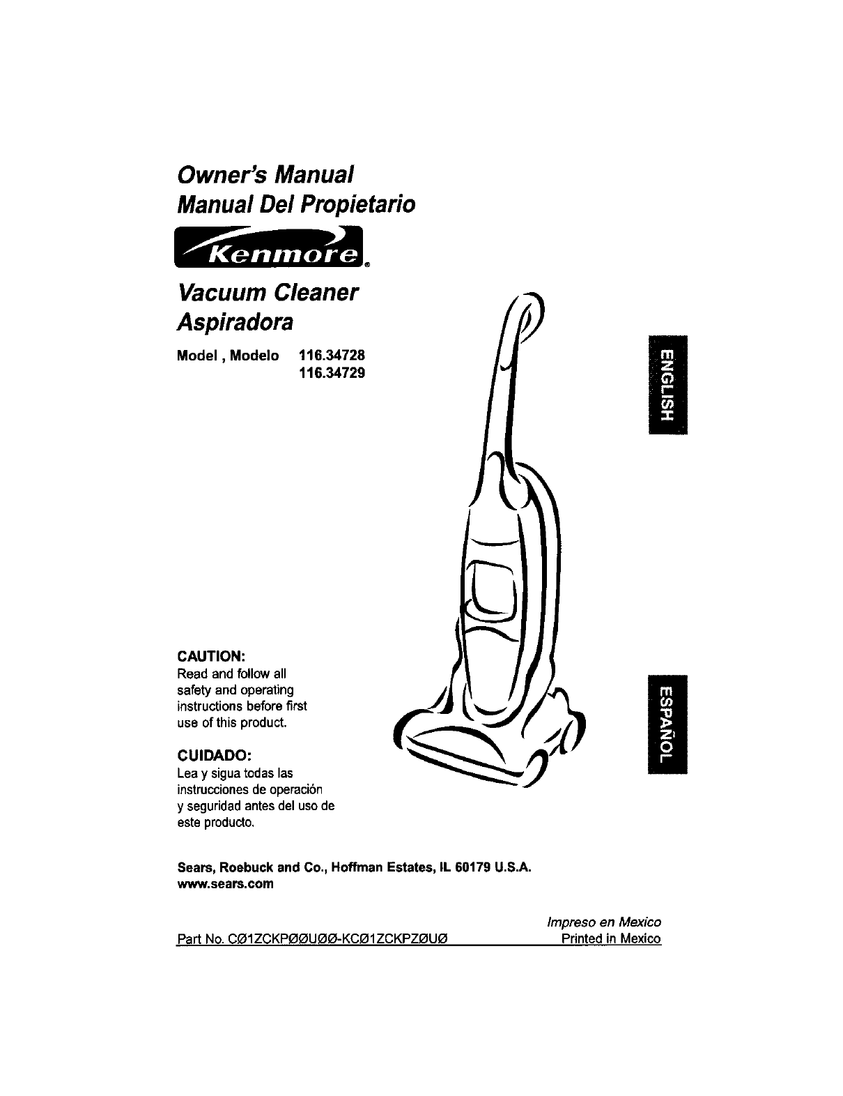 Kenmore Vacuum Cleaner 116.34728 User Guide