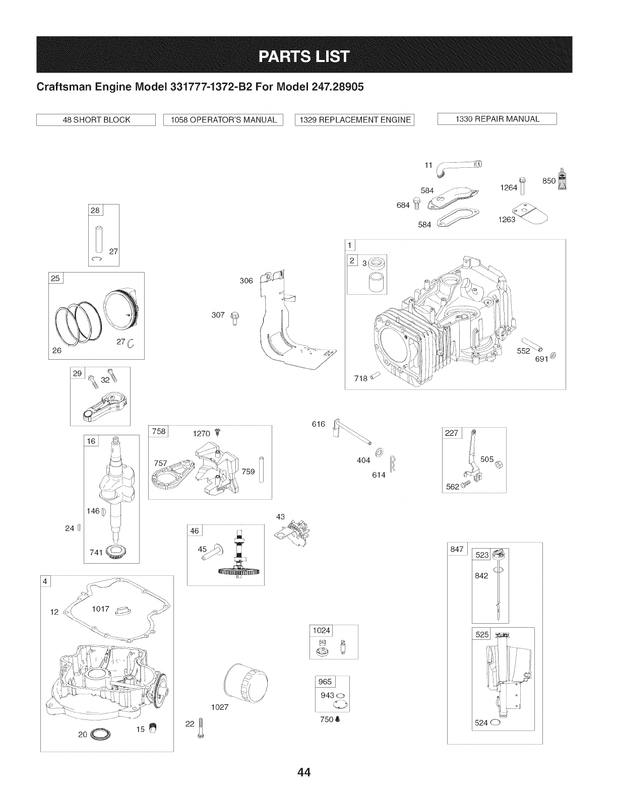 Page 44 of Craftsman Lawn Mower 247.28905 User Guide