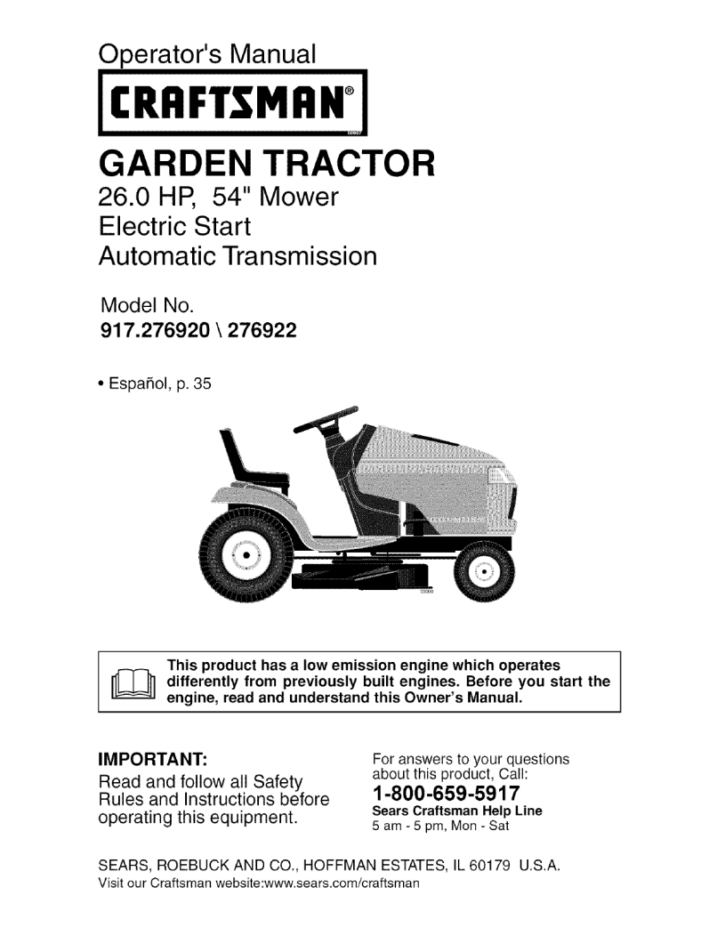 Craftsman Lawn Mower 917 276920 User