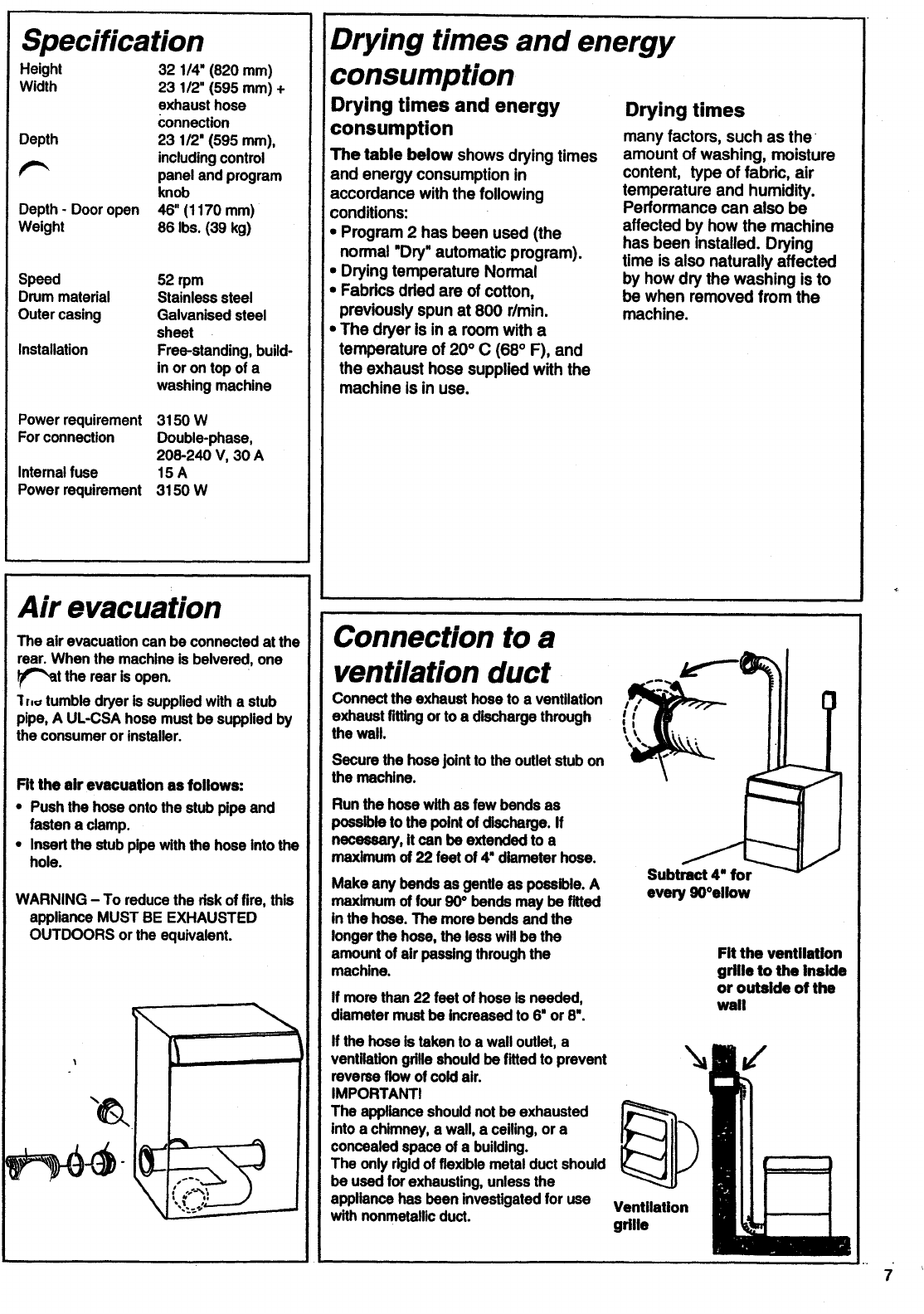 Page 7 of Asko Clothes Dryer 7005 User Guide