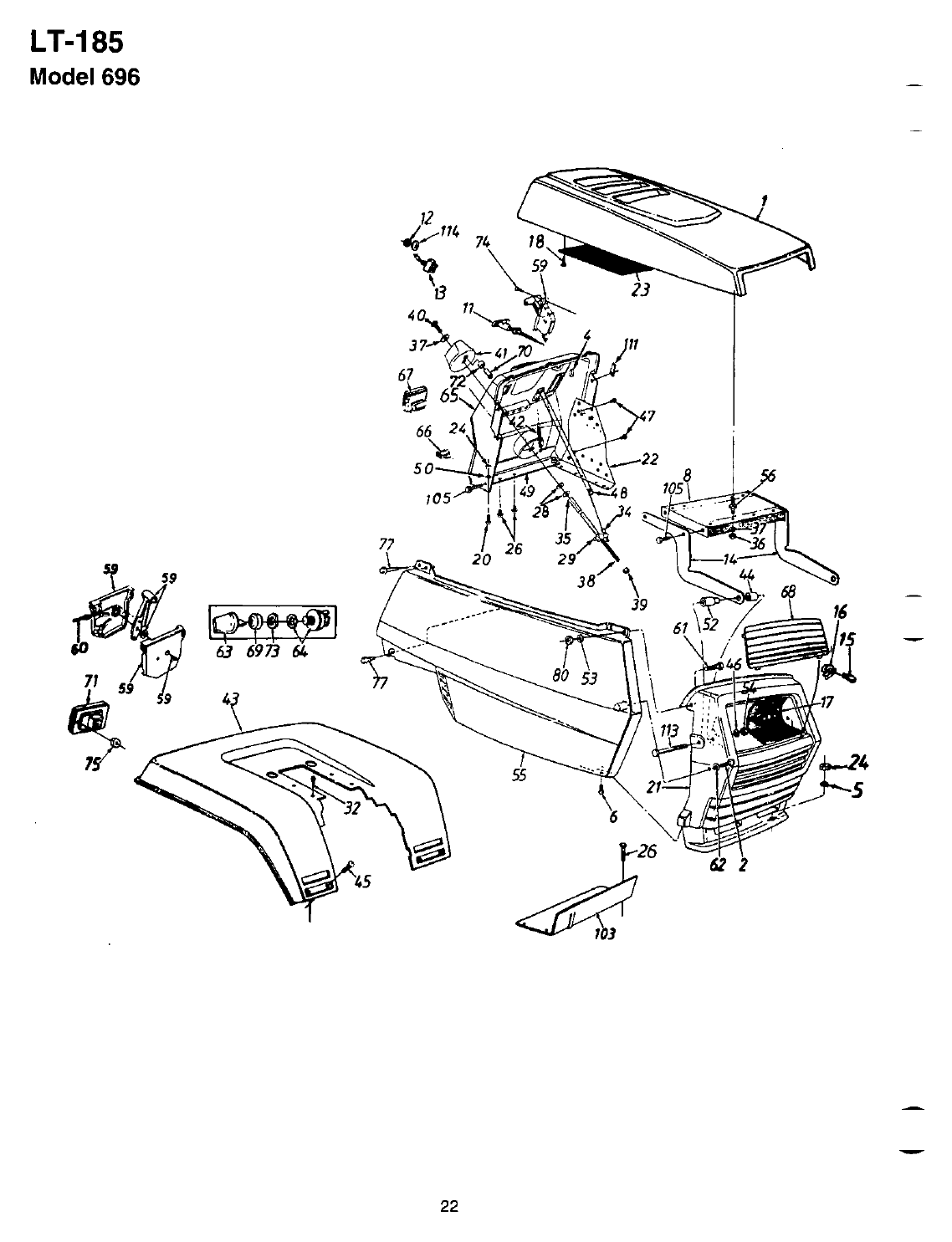 Page 22 of Bolens Lawn Mower LT-185 User Guide