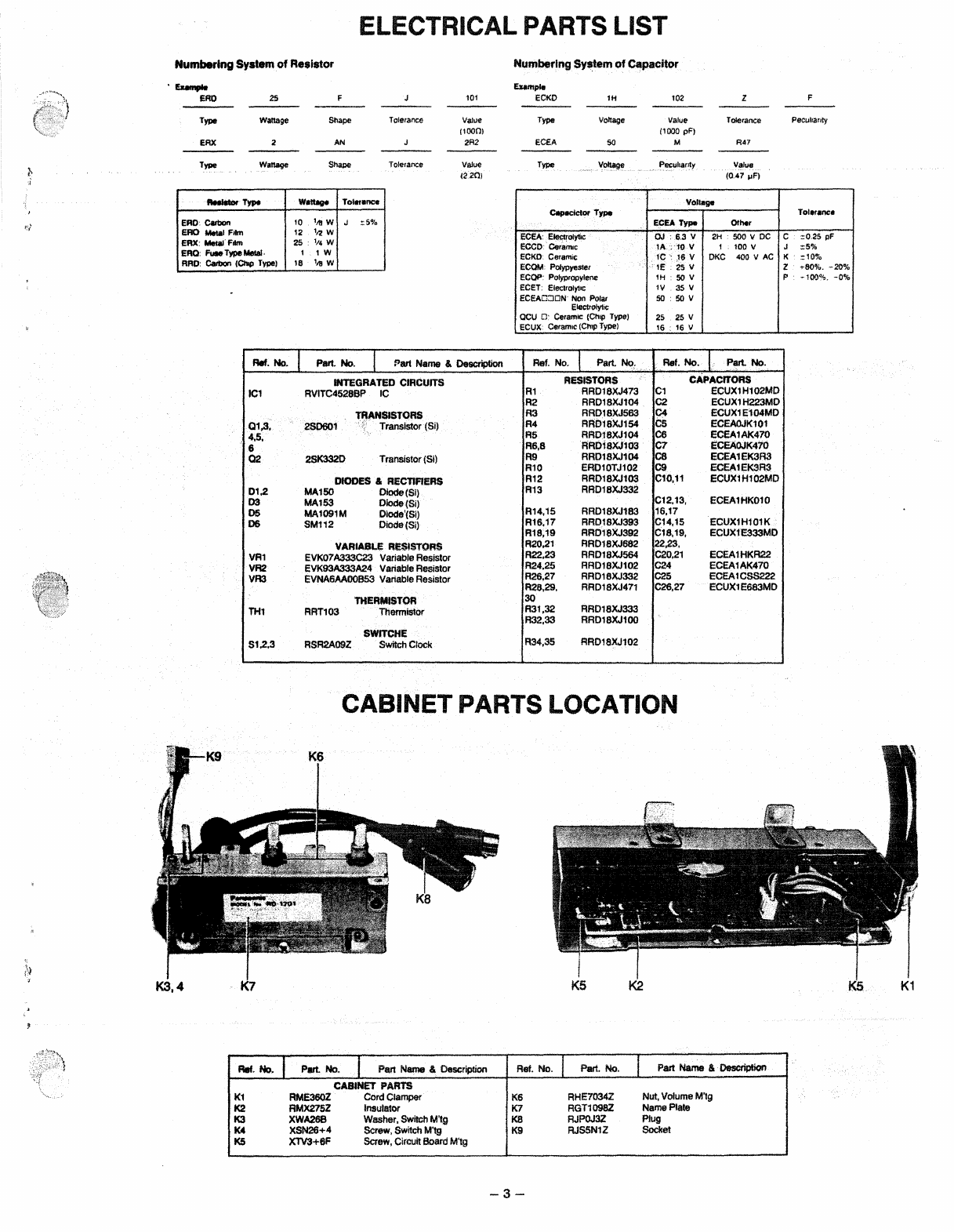 Page 3 of Panasonic Car Stereo System RD-1201 User Guide