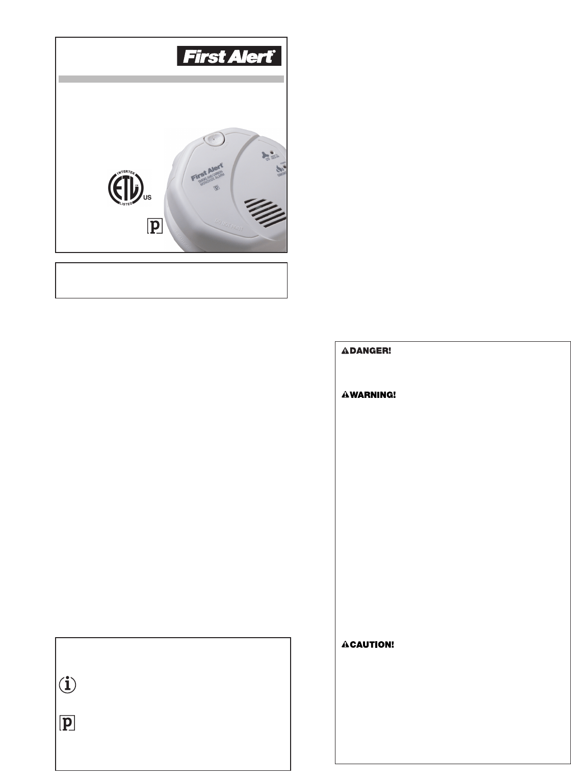 First Alert Carbon Monoxide Alarm SC7010B User Guide