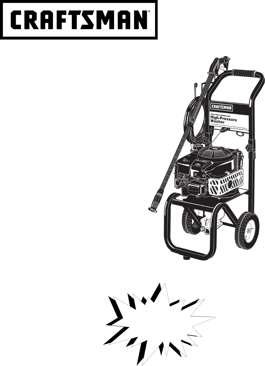 Craftsman Pressure Washer D20590 User Guide