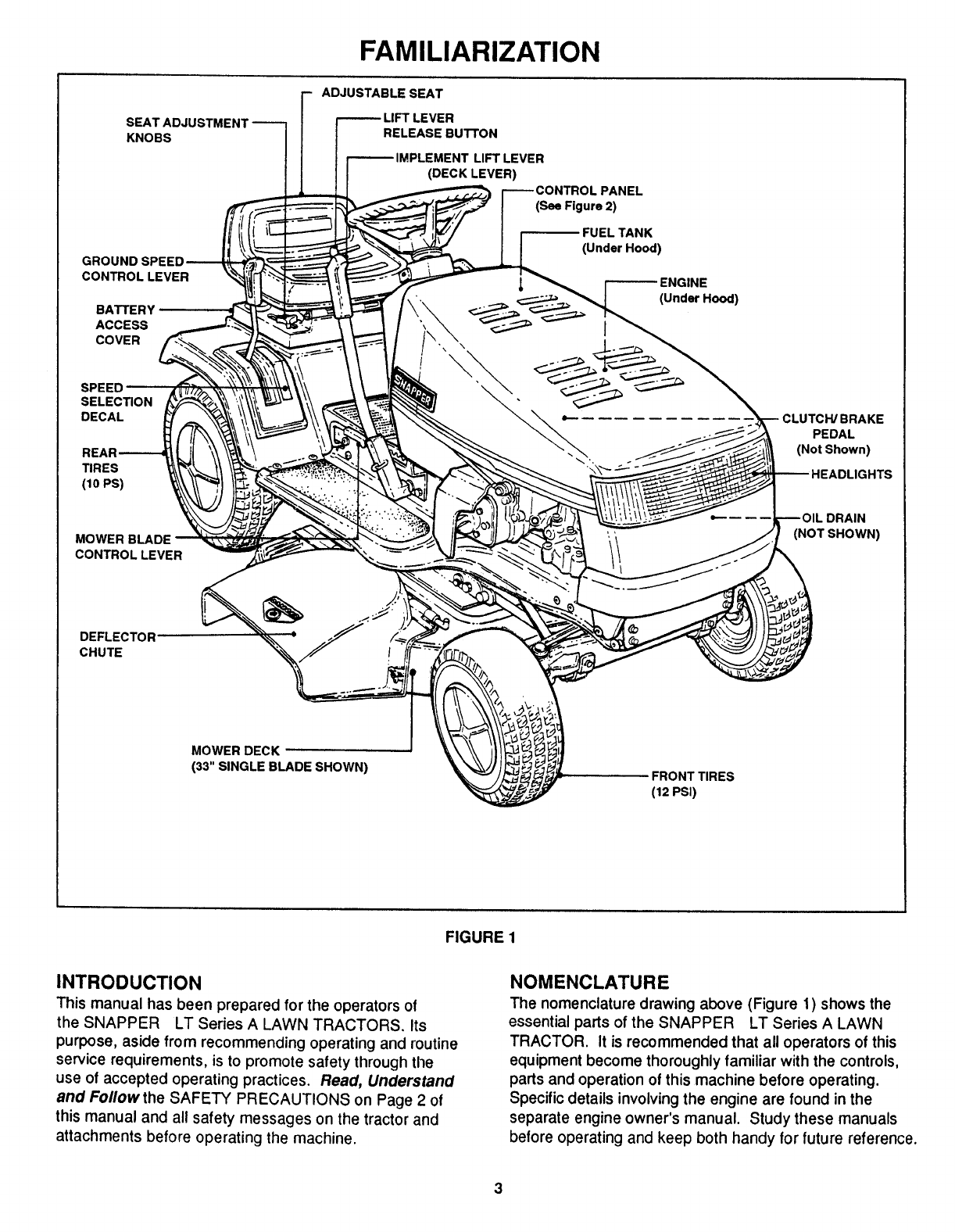 Page 3 of Snapper Lawn Mower LT125G33AB User Guide