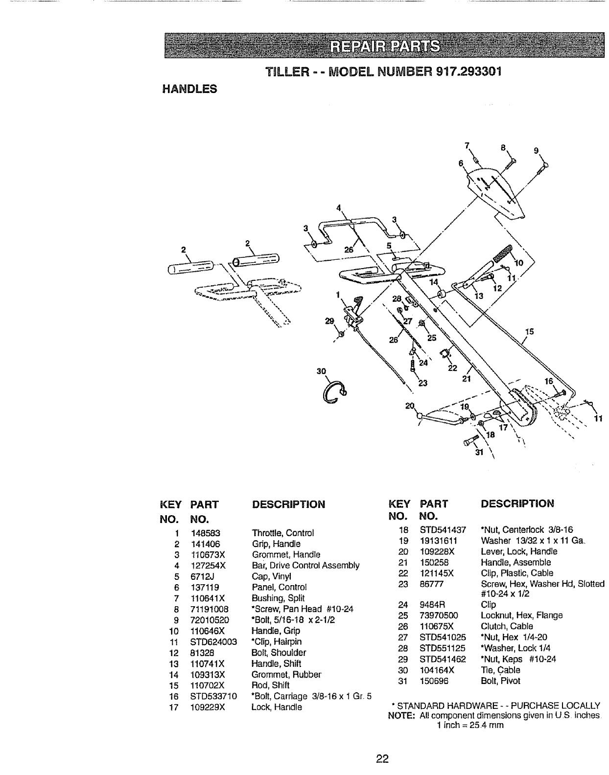 Page 22 of Craftsman Tiller 917.293301 User Guide