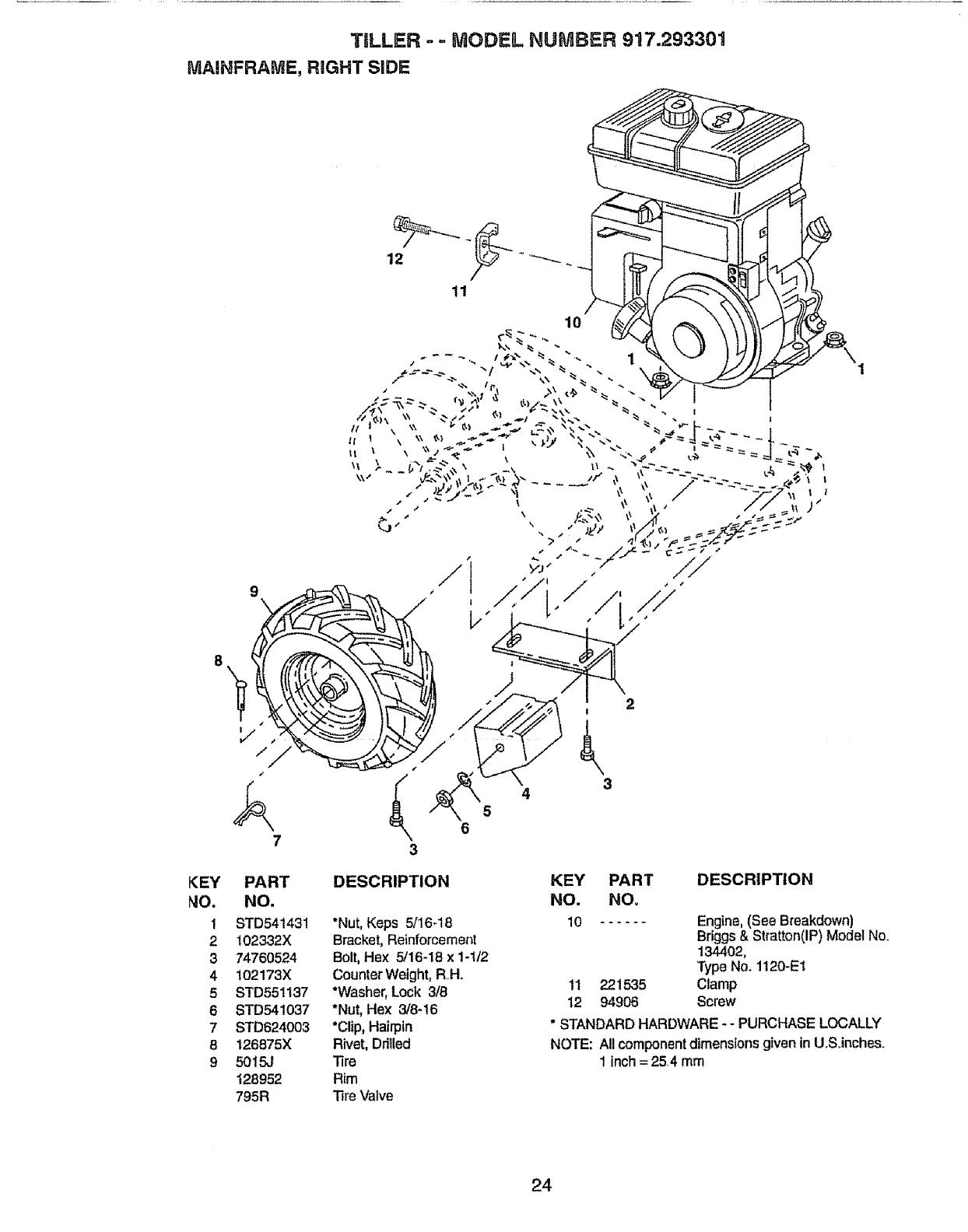 Page 24 of Craftsman Tiller 917.293301 User Guide