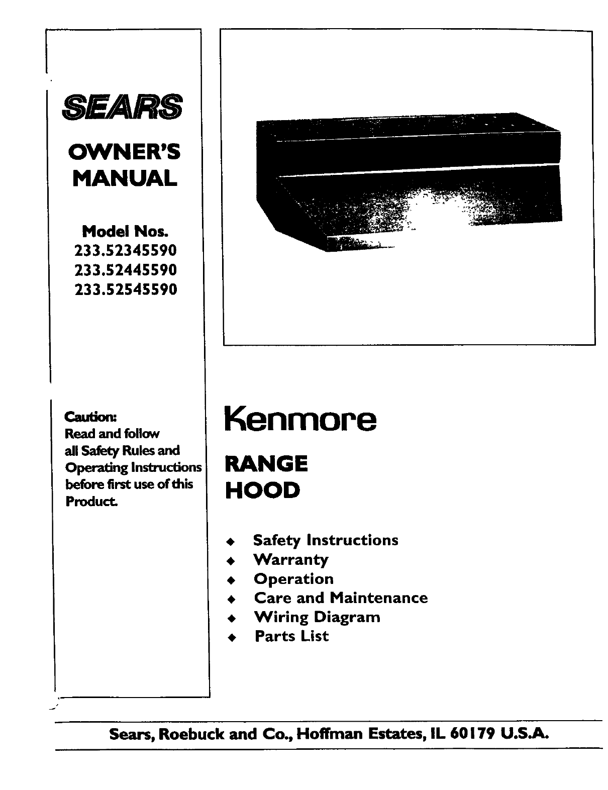 Kenmore Ventilation Hood 233.52345590 User Guide