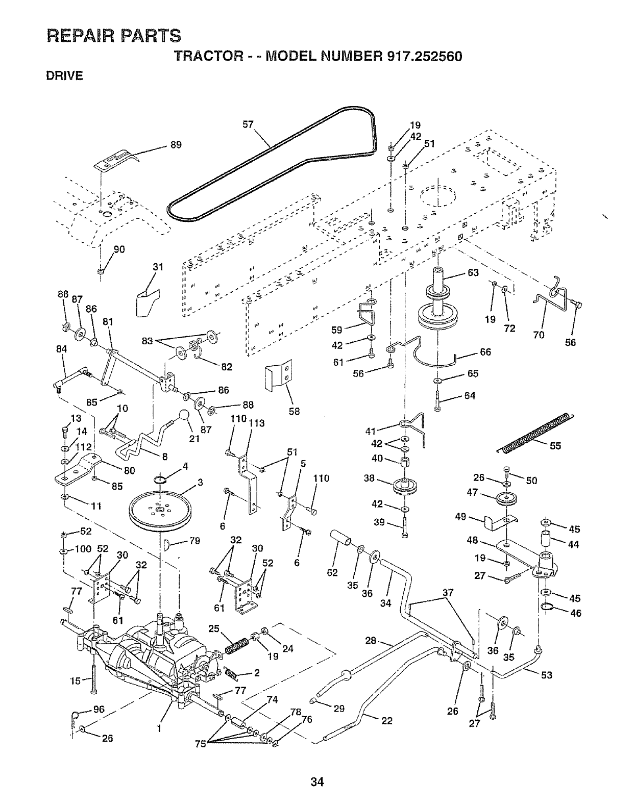 Page 34 of Craftsman Lawn Mower 917.252560 User Guide