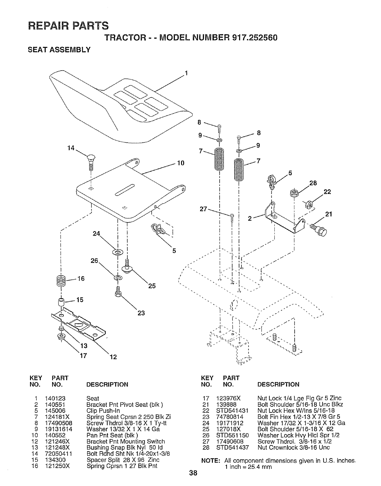 Page 38 of Craftsman Lawn Mower 917.252560 User Guide