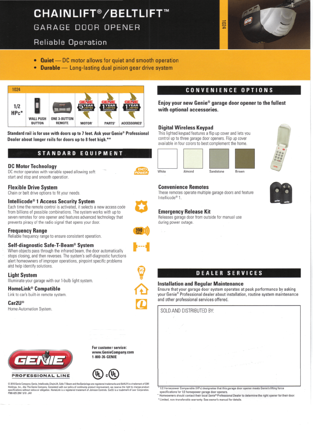 medium resolution of genie 1024 garage door opener user manual