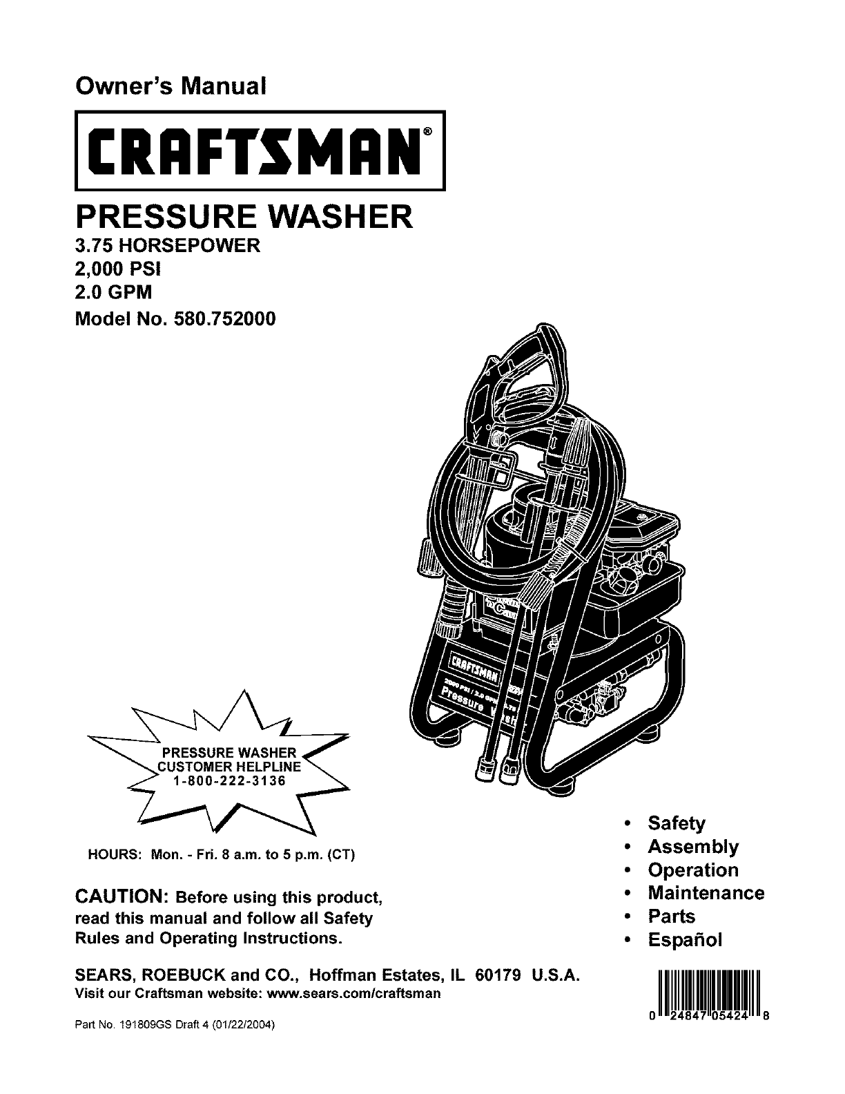 Craftsman Pressure Washer 580.752 User Guide