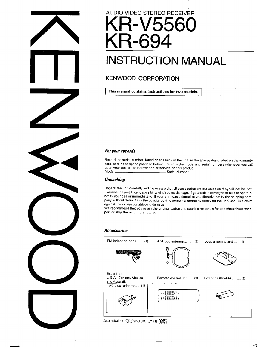 Kenwood Stereo Receiver KR-V5560 User Guide