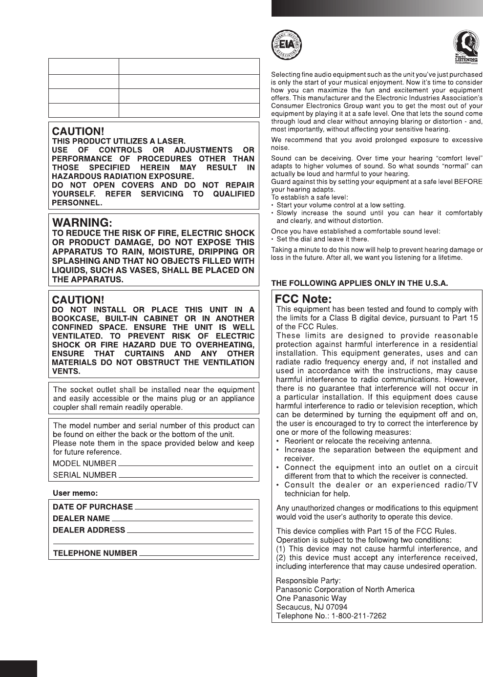 Page 2 of Panasonic Stereo System SC-AK640 User Guide