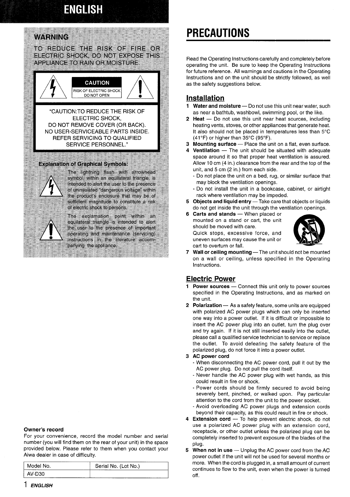 Page 2 of Aiwa Stereo System AV-D30 User Guide