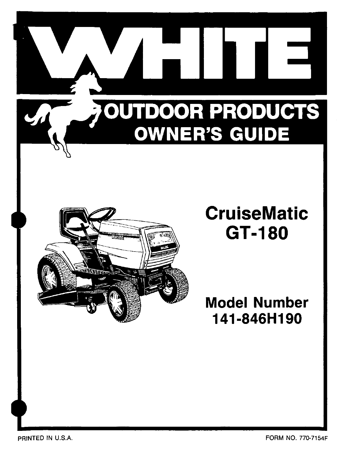 White Outdoor Lawn Mower 141-846H190 User Guide