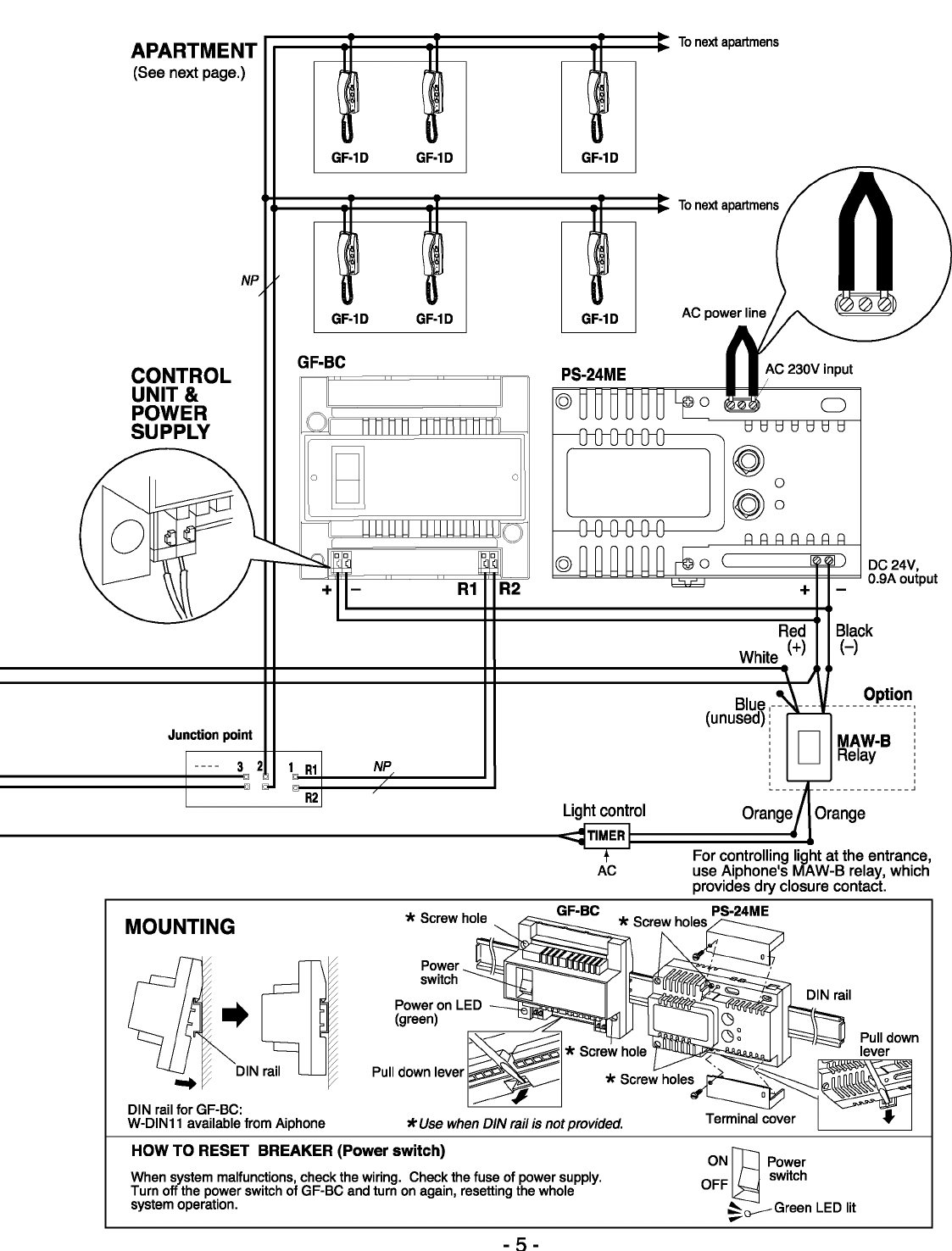 Page 5 of Aiphone Intercom System GF-3F User Guide