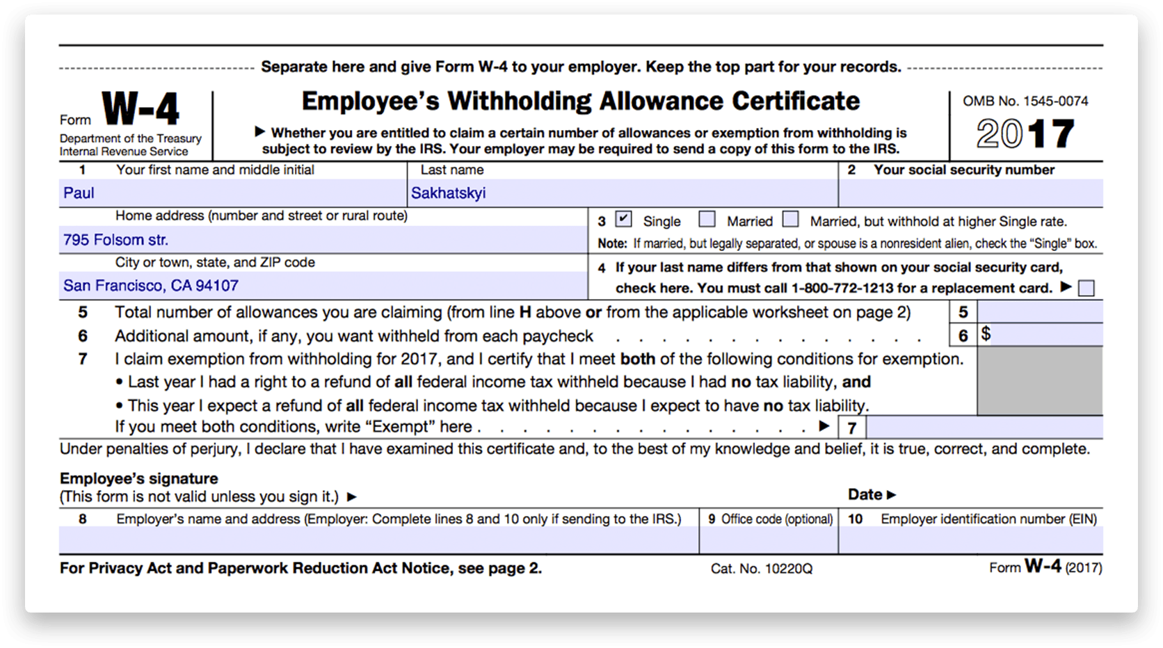 How To Fill Out Irs Form W 4