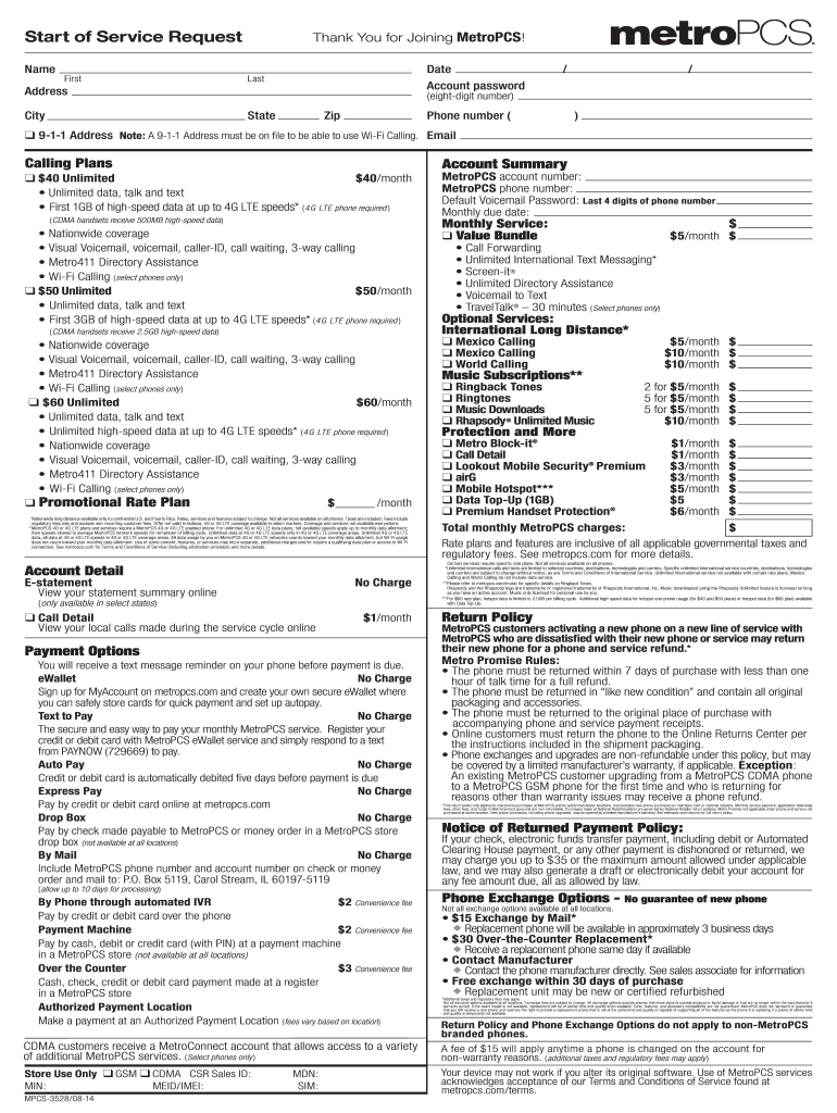 Can You Pay Metro Pcs Bill Online : metro, online, Metropcs, Start, Service, Printable, Template, Online, Legal, Forms