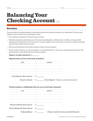 How To Manage Your Checking Account Worksheet Answers : manage, checking, account, worksheet, answers, Balancing, Checking, Account, Worksheet, Answers, Online,, Printable,, Fillable,, Blank, PdfFiller