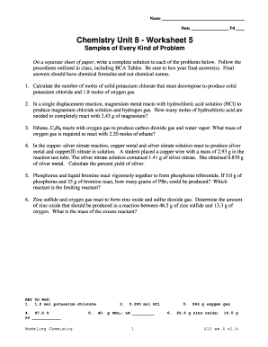 Chemistry Unit 4 Worksheet 4 Answers : chemistry, worksheet, answers, Chemistry, Worksheet, Online,, Printable,, Fillable,, Blank, PdfFiller