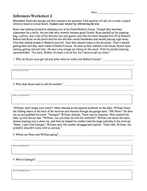Inferences Worksheet 3 Pdf  Fill Online, Printable, Fillable, Blank  Pdffiller