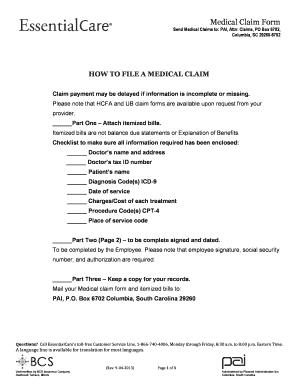 PDF Medical Claim Form | Columbia, SC 29260-6702