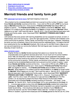 Marriott Friends And Family : marriott, friends, family, Marriott, Friends, Family, Online,, Printable,, Fillable,, Blank, PdfFiller