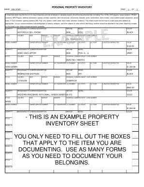 Personal Property Value Worksheet : personal, property, value, worksheet, Printable, Personal, Property, Inventory, Sheet, Forms, Templates, Fillable, Samples, Download, PDFfiller