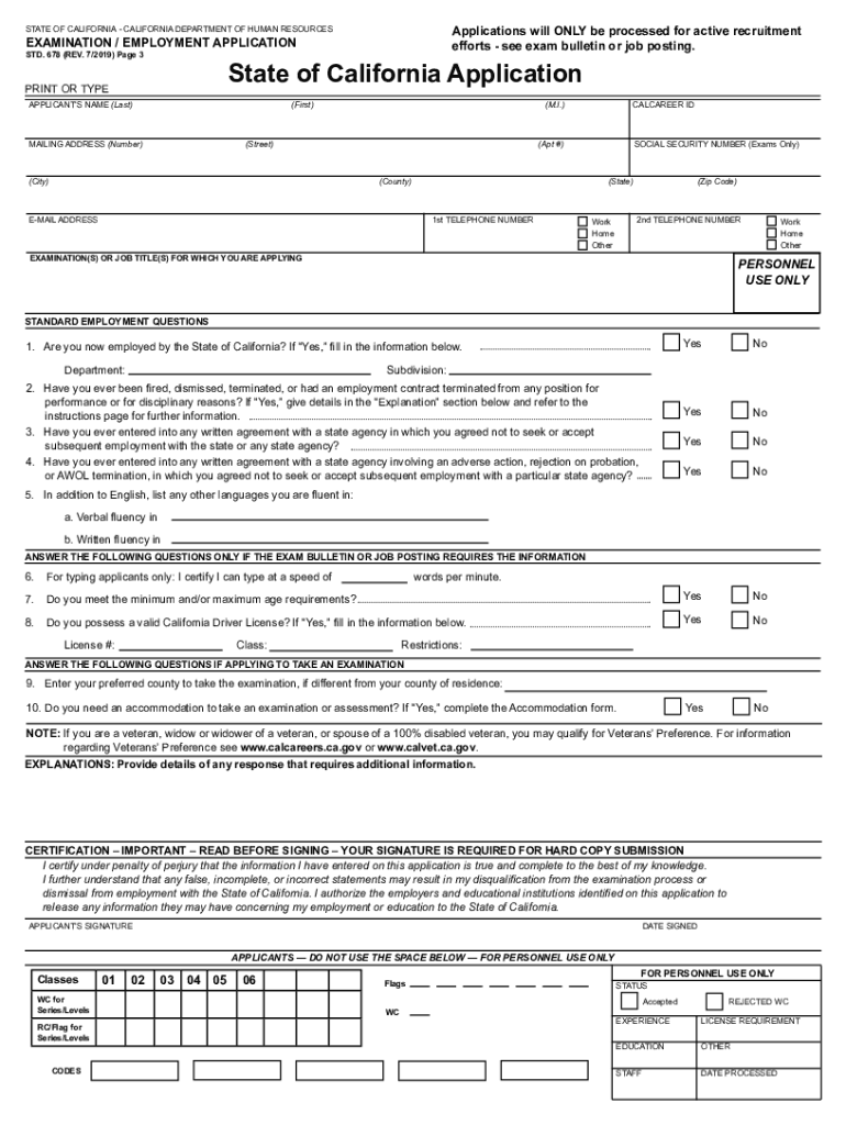 State Examination Employment Application Std Form 678 : state, examination, employment, application, 2019-2021, Online,, Printable,, Fillable,, Blank, PdfFiller