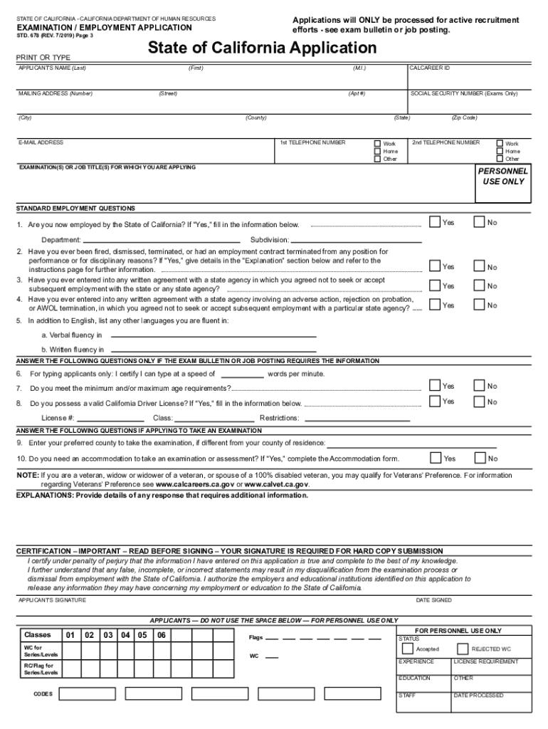 Std 678 Forms : forms, 2019-2021, Online,, Printable,, Fillable,, Blank, PdfFiller