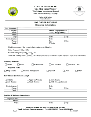 New Jersey Job Order  Fill Online, Printable, Fillable