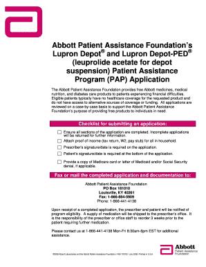 Abbott Patient Assistance Program : abbott, patient, assistance, program, Depot, Patient, Assistance, Program, Online,, Printable,, Fillable,, Blank, PdfFiller