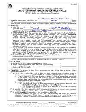 One To Four Family Residential Contract Example : family, residential, contract, example, Fillable, Online, PdfConvertOne, Family, Residential, Contract, (Resale), 12052011, Email, Print, PDFfiller