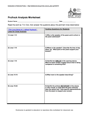 Introduction To Modernist Poetry Prufrock Analysis Worksheet  Fill Online, Printable, Fillable