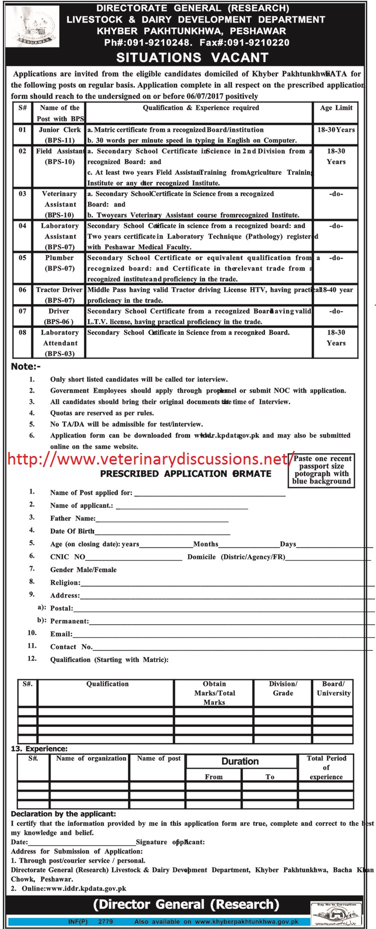 Veterinary Assistants required by KPK