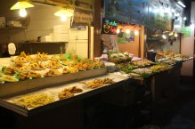 Food stalls in the night bazaar court