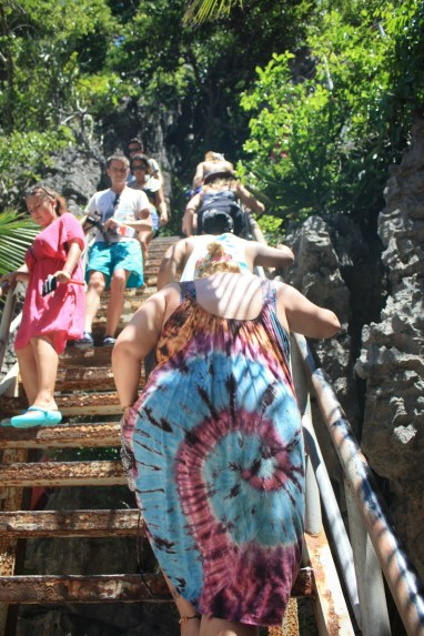 Climbing up the steep stairs to the lagoon