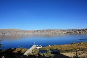The lake and the small anchorage where you board the boats for the islands of the Uros