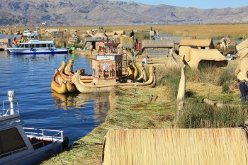 Traditional Uros boats, made also of reeds