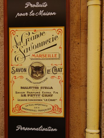 A beautiful sign of a savon brand. Centre of Aix-en-Provence