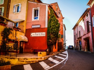 Streets in Rousillion. Everything is painted in shades of red