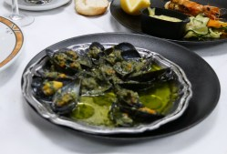 Appetizing mussels cooked in local style