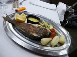 Grilled sea bream was the main dish
