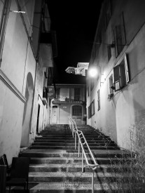 A stairway in Le Souquet, the old town of Cannes. This street seems to have remained as in previous decades