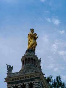 Zooming in at the statue of the Virgin and the Child, on top of Notre Dame de la Garde